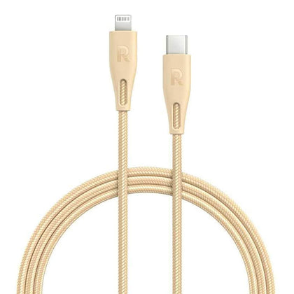 RAVPower Nylon Braided Type-C to Lightning Cable  ( 2m / 6.6ft ) – Gold