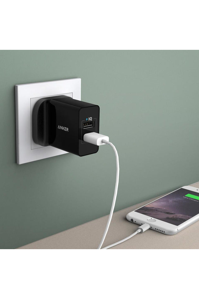 Anker 24W 2-Port USB Charger - Black (A2021K11) - www.emarketkw.com