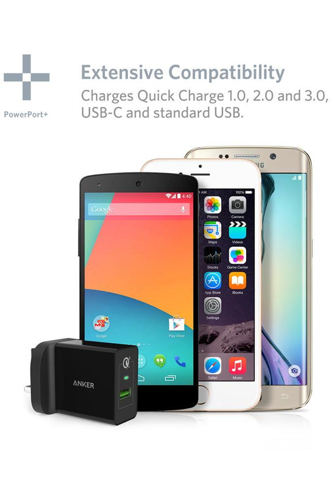 Anker PowerPort+ 1 with Quick Charge 3.0 Premium USB Wall Charger - Black - www.emarketkw.com