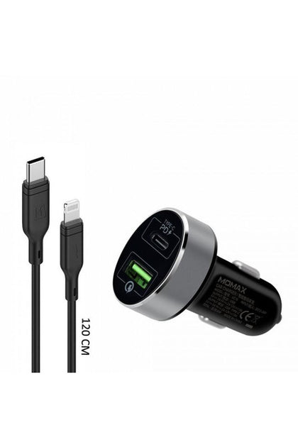 MOMAX 2 IN 1 USB-C PD Car Fast Charger 20W with Lightning Cable - Black