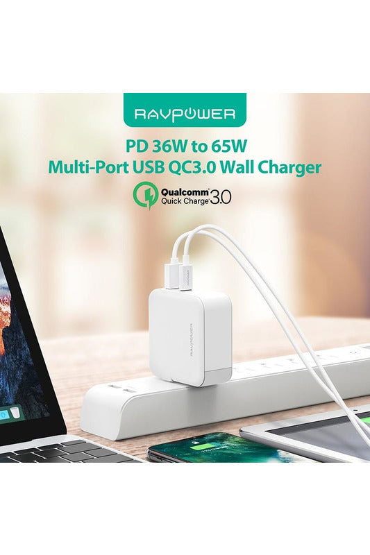 RAVPower Wall Charger 36W Dual USB AC Plug PD QC3.0 UK - White(RP-PC080) - www.emarketkw.com