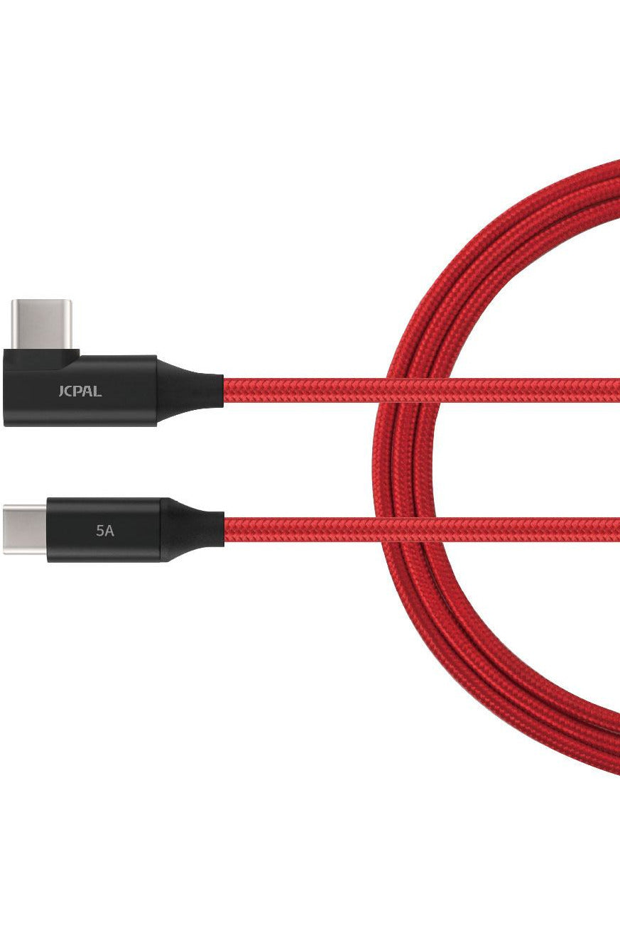JCPal FlexLink USB-C 100W Cable, 2m/6.5ft - Red (JCP6154) - www.emarketkw.com