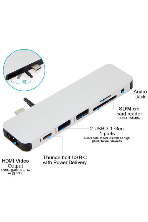 HyperDrive SOLO 7-in-1 USB-C Hub for MacBook, PC, Chromebook, Android - Silver (GN21D)