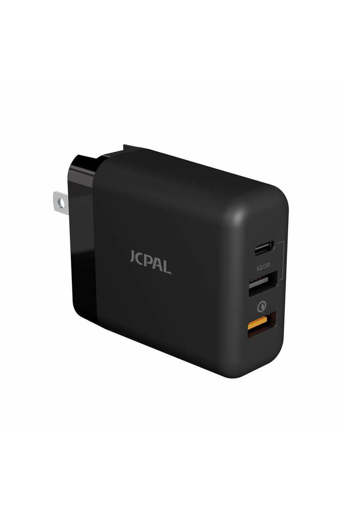 JCPal Elex 30W Multiport Travel Adapter with Type-C QC3.0 Charger - Black (JCP6139)