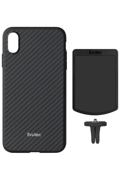Evutec Slim Light Smooth Case with Vent Mount for iPhone Xs Max - Karbon