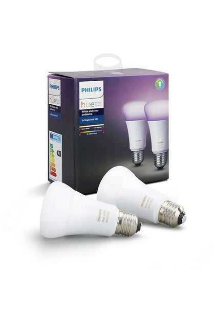 Philips Hue 2x Single Bulb E27 White and Color Ambiance (929001257363)