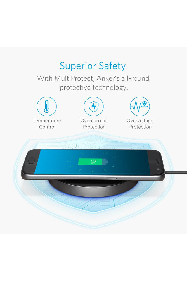Anker Power Touch 10 Wireless Charging Pad with 3ft/0.9m Cable - A2512H11 - www.emarketkw.com