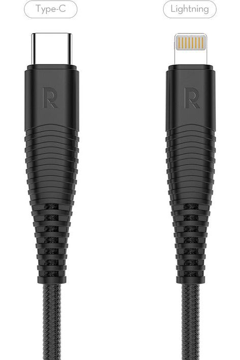 RAVPower , C-Lightning Cable , Nylon Yarn Braided Type-C to Lightning 3.3ft 1m-Black (RP-CB020)