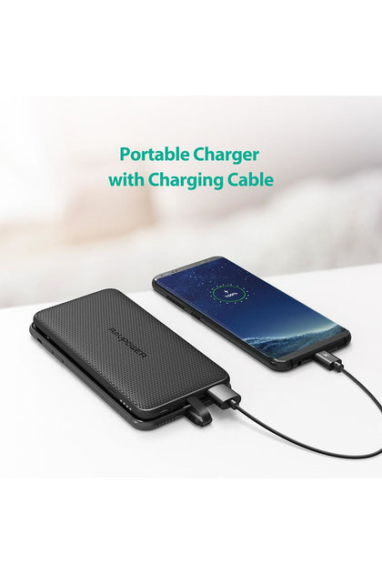 RAVPower Power Bank, Blade 10000mAh Built-in Cable iSmart - Black (RP-PB099)