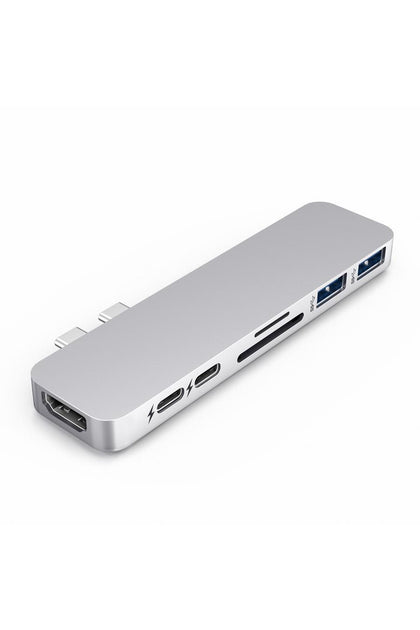 HyperDrive DUO 7-in-2 Hub for USB-C MacBook Pro/Air - Silver (GN28B)