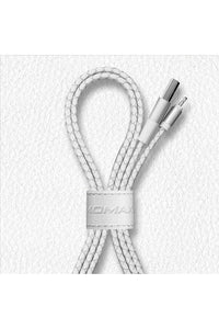 Momax Elite Link Pro Lightning Cable (1m) Leather Cable Holder - White