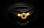 BAIAE - Bracelet of Sors - Leather bracelet in 21K gold with black diamonds