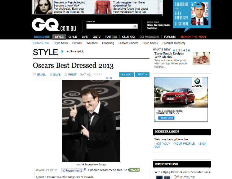 quentin tarantino grove lane leather tie best dressed oscars 2013