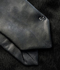 Distressed Black Leather Tie