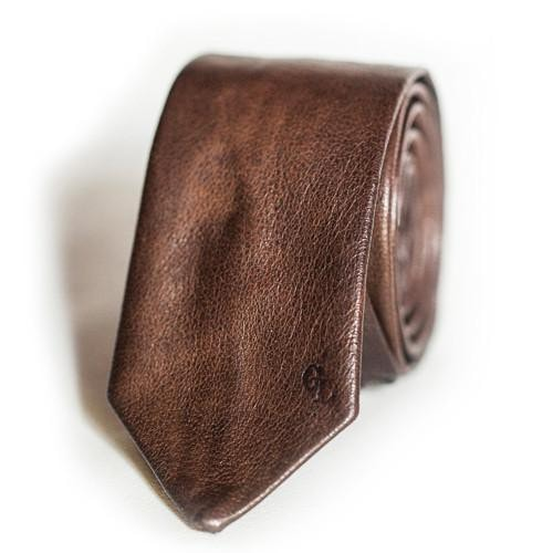 Antique Brown Leather Tie