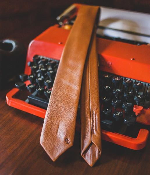 Cognac Leather Tie