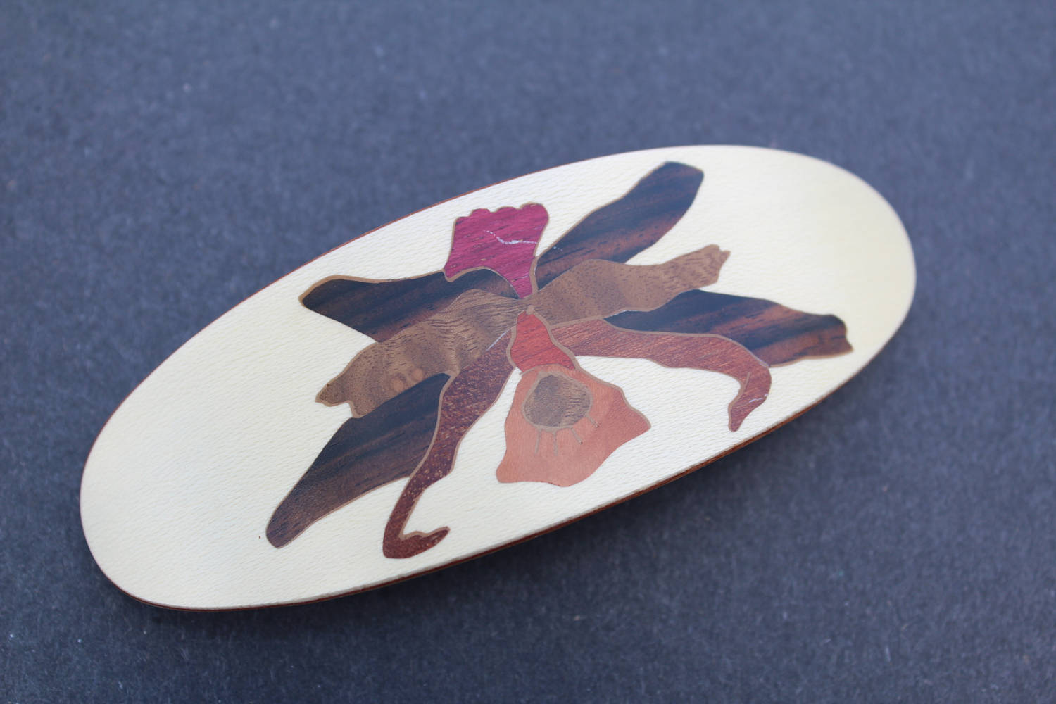 Flower Hair Clip, Hair Barrette, Wood Hair Clip Barrette, Luxury Hair Accessories,French Barrette, Hawaii Flower Wood Handmade in USA