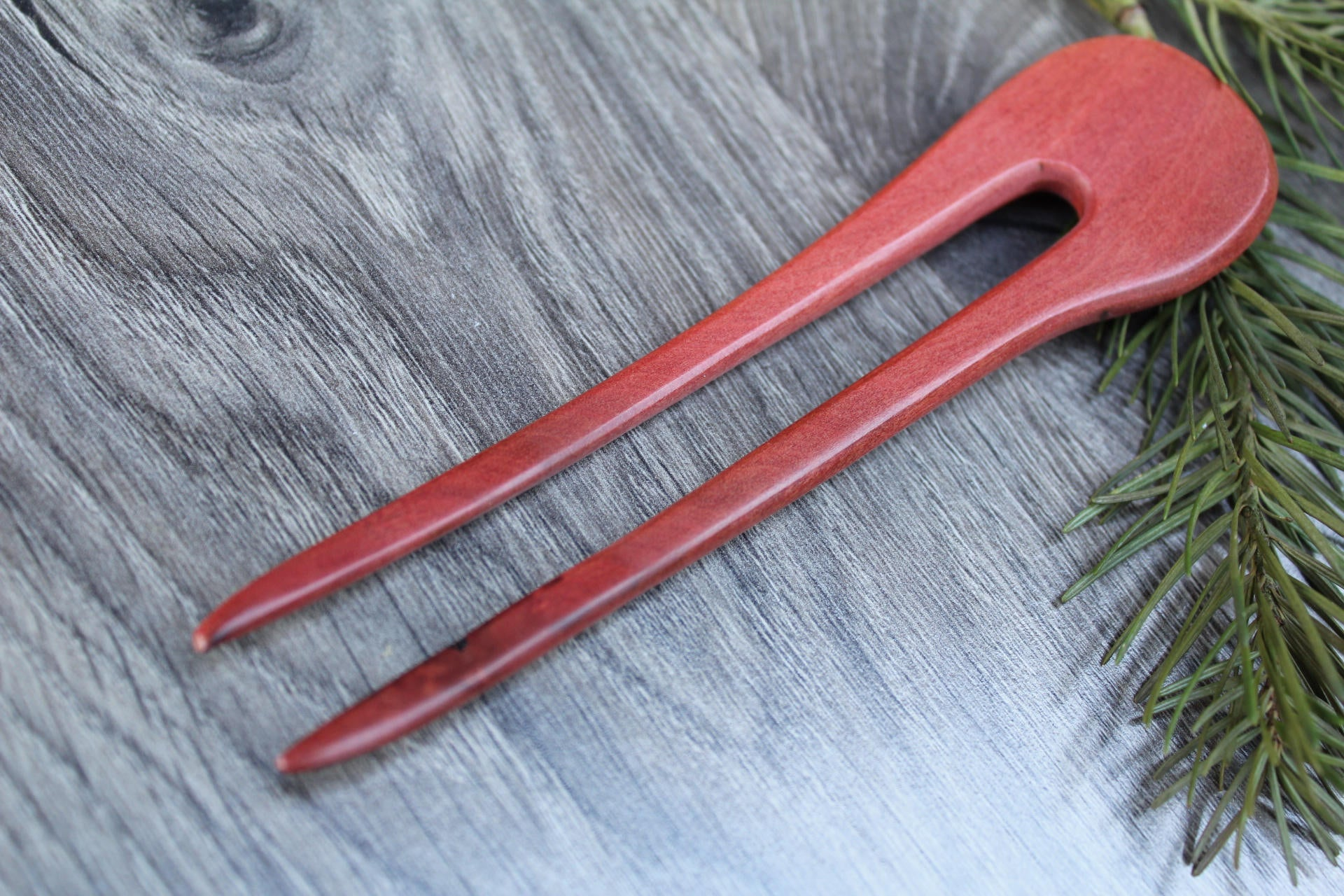 Hair Stick, 2 Prongs, Wood Hair Fork, Hair Comb, stick Bun Holder Hair stick  Shawl Pin Pink Ivory Made in USA