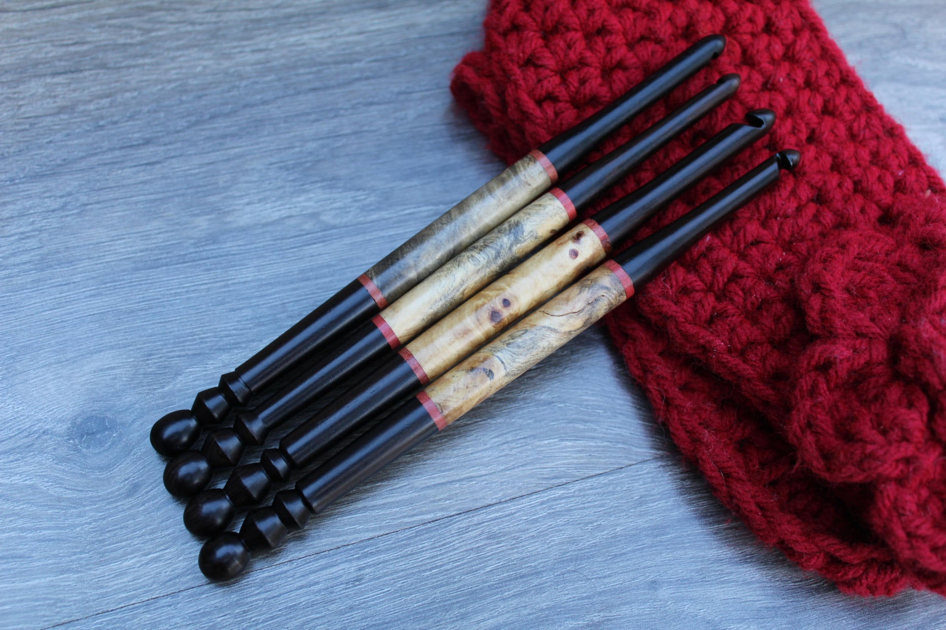 Size M-K-J-I Crochet Hook, Crochet hook set , Handmade set of Crochet hook, Hand Turned wood Crochet Hook, Wood Crochet hook Set