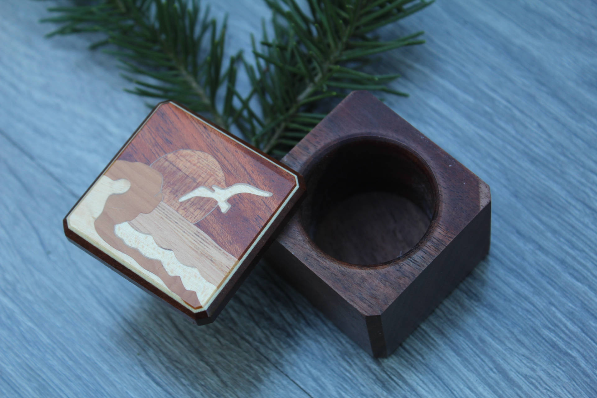 Wood wedding Ring Box Sea Holiday Mountain Handmade Pill Box Jewelry Box His & Hers Ring Boxe Ring Bearer Box Wedding Ring Rustic Box Inlay