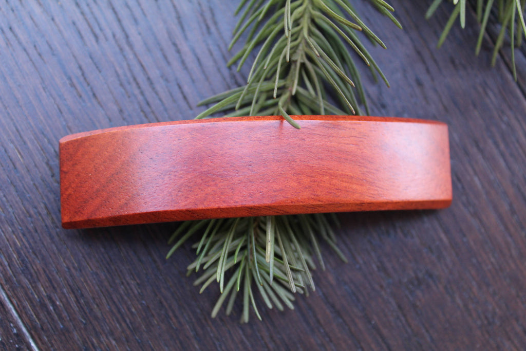 Red Hair Clip, Wooden French Hair Clip Barrette, Brown Ponytail Holder, Girl Toddler Small Birthday Anniversary Mother's gift