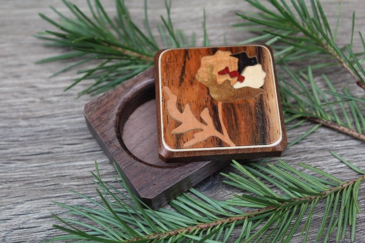 Pill Box, Wood Pill Organizer, Jewelry Organizer, Pill Case, Pill Container Wood Inlay,  Puppy Flower, Gift for Him, Gift For Her,