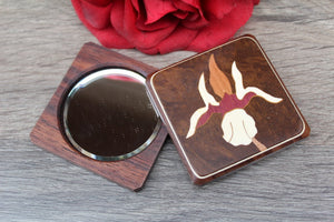 Purse Mirror, Pocket Mirror, Hand Mirror, Compact Mirror, regular and  magnifying glass, bridesmaid gift, birthday Flower 2