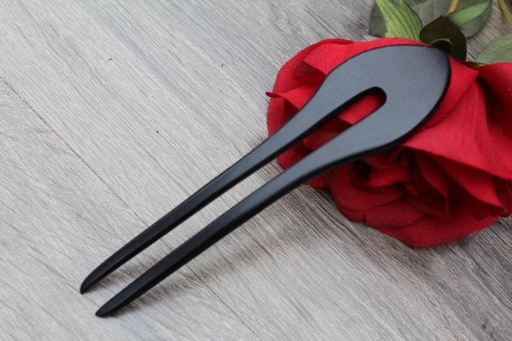 2 Prong Hair Fork, Hair Stick,  Fork Shawl, Hair Pin,  Ebony Hair Accessories, Hard wood Hair Comb Toddler Short Hair Made in USA Handmade 3