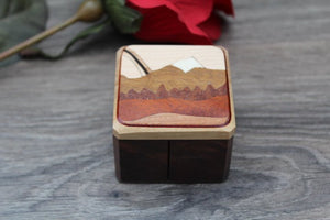 Stamp Box, Stamp Rolls Box, Postage Stamp Wood Box Rainbow Mountain Range