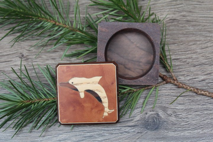 Dolphin Pill Box, Wood Pill Box-Pill Organizer-pocket pill box-Pill box with design-pill case-small box-inlay pill box,Ring box