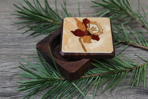 Wood Pill Box-Pill Organizer-pocket pill box-Pill box with design-pill case-small box-inlay pill box,Daffodil 1 3/4''
