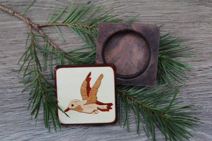 Wood Pill Box-Pill Organizer-pocket pill box-Pill box with design-pill case-small box-inlay pill box, Bird  1 3/4''