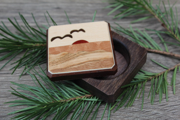 Wood Pill Box-Pill Organizer-pocket pill box-Pill box with design-pill case-small box-inlay pill box Sun Seagull  1 3/4''