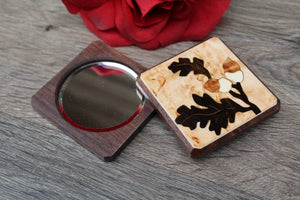 Compact Mirror, Pocket Mirror, Hand Mirror, Purse Mirror, regular and  magnifying glass, bridesmaid gift, birthday Oak Leave