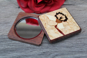 Compact Mirror, Pocket Mirror, Hand Mirror, Purse Mirror, regular and  magnifying glass, bridesmaid gift, Daffodil