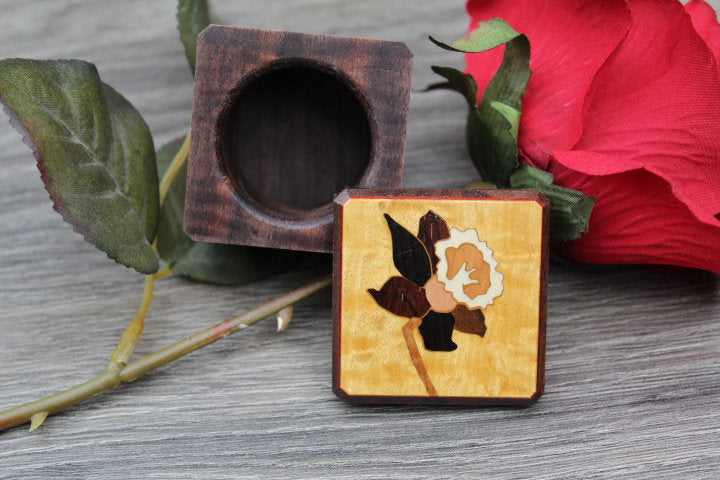 Flower Ring Box, Rustic Ring box, Ring Bearer Box, Jewelry Box, wedding Ring Box, Pill Box, Jewelry Box, His & Hers Wedding Ring Box