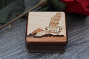 Ring Box Flower Handmade Hawk Mountain Pill Box Jewelry Box His & Hers Ring Bearer Box Wedding Ring Rustic Box Wood Wedding Box Inlay