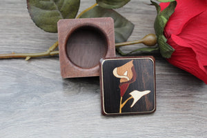 Flower Ring Box Handmade Pill Box Jewelry Box His & Hers Ring Box Ring Bearer Box Wedding Ring Rustic Box Wood Wedding Box Inlay