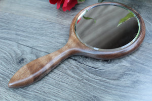 Iris Hand Mirror, Wood Hand Mirror,  Flower Black Walnut Hand Held Mirror wood Handmade  Made in USA