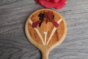 Hand Mirror Hand Held Wood Flower Tulip Walnut wood Handmade  Made in USA