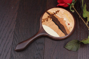 Hand Mirror Wooden Handheld Wood Mountain Summer Vacation Black Walnut wooden Handmade  Made in USA