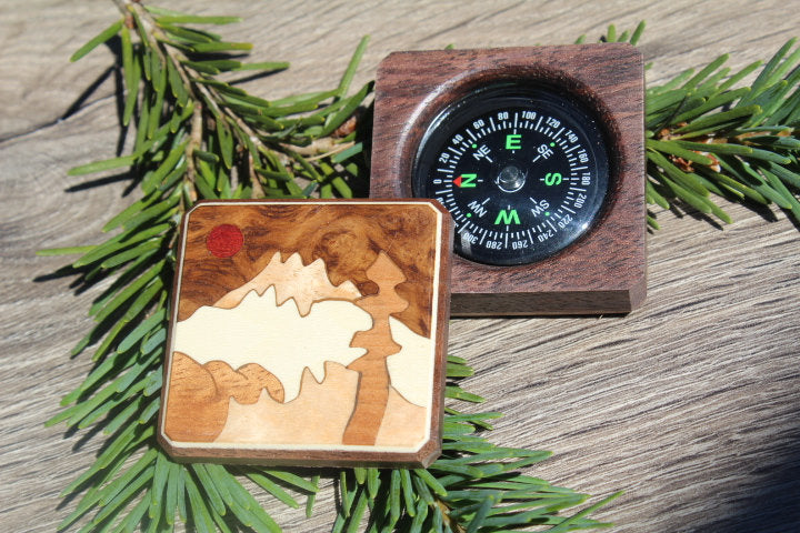 Compass, Unique compass Box , Personalized Compass, Mountain Range Baptism Gift, Graduation gift Father's day Gift Husband Way home scout