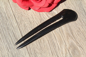 Hair Comb Double Prong Hair Black accessories for girls Wood Hair Stick Fork Shawl Pin Ebony Wood Hair Handmade in USA