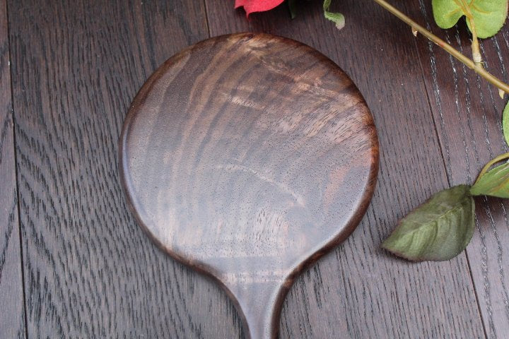 Personalized Mirror, Hand Mirror, Vanity Mirror, Wood Bathroom Mirror, Round Mirror, Large Mirror,  Figured Oregon Black Walnut Made in USA
