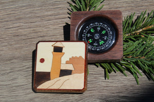 Compass, Sea Beach compass Box , Personalized Compass, Baptism Gift, Graduation gift, Hiking Hunting Father's day Gift Husband Tree Mountain