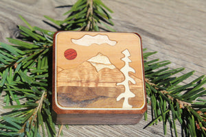 Compass Box Wood Mountain white Red sun Hiking Camping Hunting Sport Outdoor Winter Christmas Gift Men Boy scout Girl  Made in USA