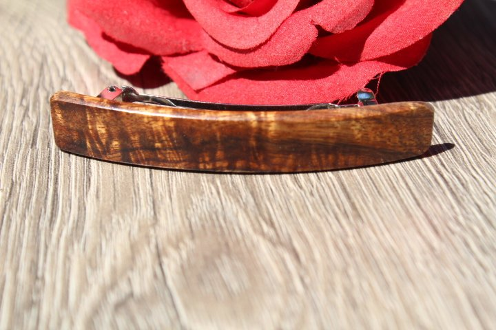 Koa Hair Clip, Brown Ponytail Holder Hair Barrette Girl Toddler Small Birthday Anniversary Mother's gift Hawaii Wood Made in USA