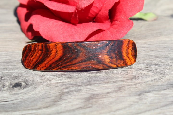 Wood French Clip Hair Barrette Little hair Girl Toddler Cocobolo Valentine's gift Birthday Anniversary Woman Cocobolo Wood Made in USA