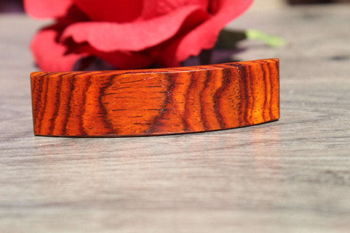 Wood French Clip Hair Barrette Girl Average hair Valentine's gift Birthday Anniversary Woman Cocobolo Wood Made in USA