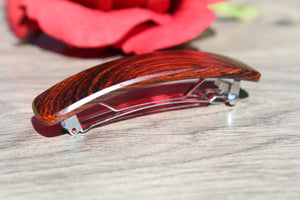 Wooden Hair Barrette, Brown Hair Clip, French Clip Barrette, Small clip barrette Wood Handmade in USA Cocobolo wood